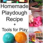 Homemade playdough recipe plus tools for play