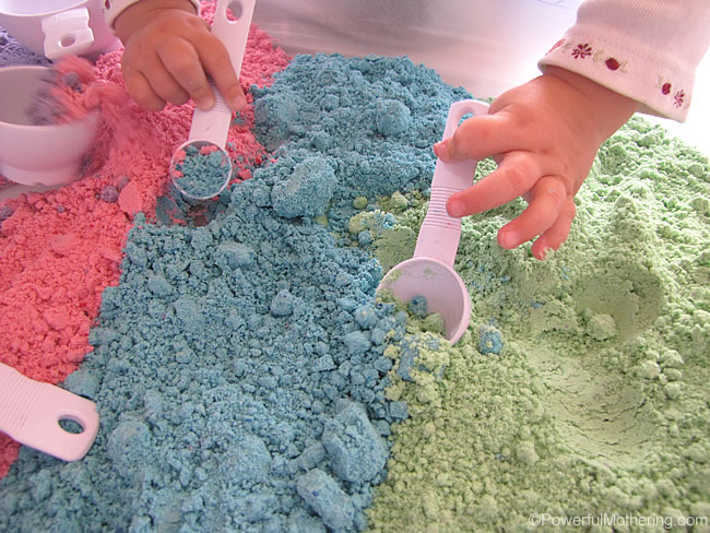scooping the fluffy dough is great fun for toddlers