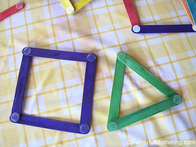 make popsicle stick shapes for learning