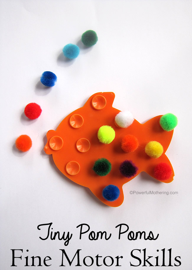 tiny pom poms fine motor skills toddler activity