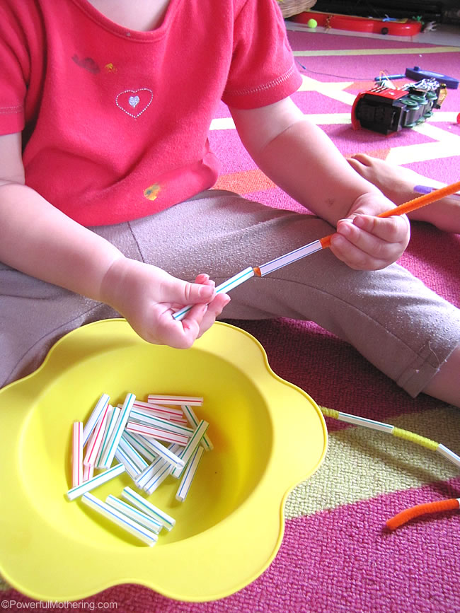 Really quick fine motor skills with straws and pipecleaners