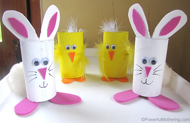 cute bunny and chick easter treat holders from cardboard tubes