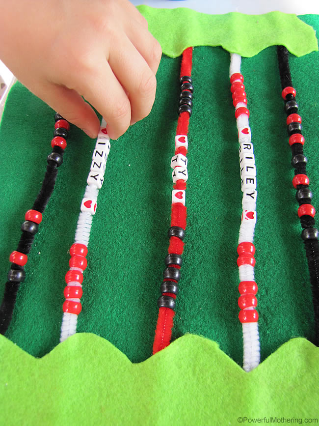 Quiet Book Fine Motor and Name Recognition Page