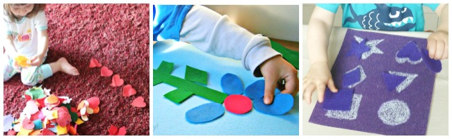 learning shapes with felt and toddlers