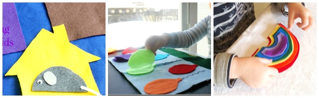 toddlers learning with felt and color