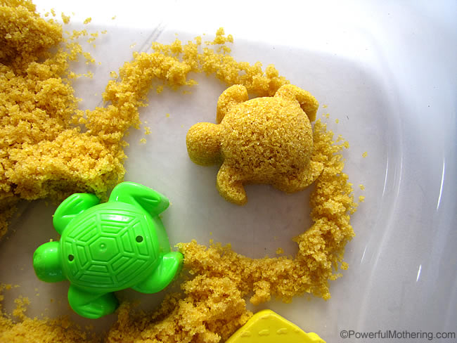 How to make homemade Moon Sand recipe from PowerfulMothering.com