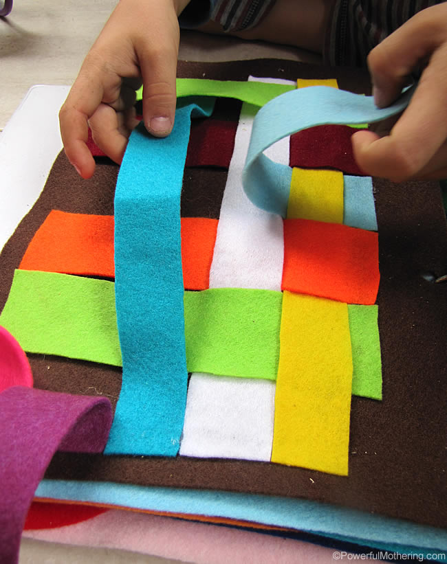 Simple Weaving Felt Page for fine motor skills with PowerfulMothering.com