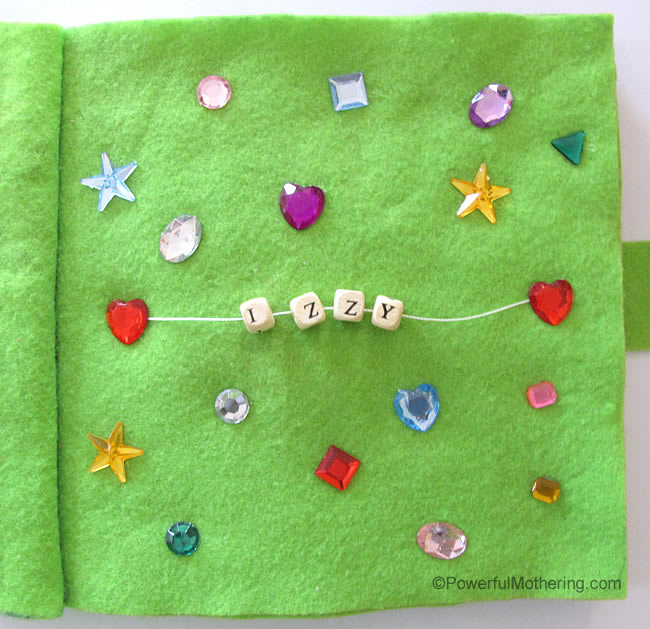 Sequins with Name Recognition No Sew Quiet Book Page from PowerfulMothering.com