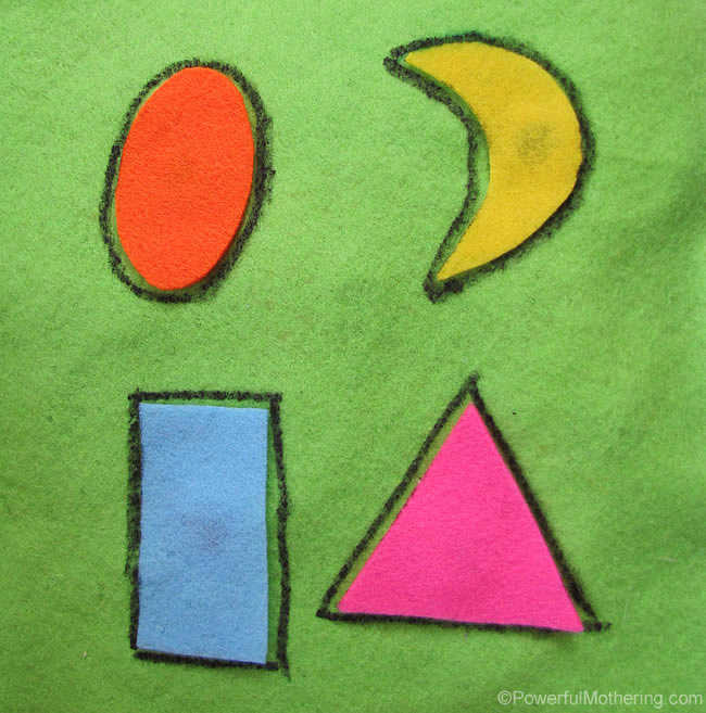 Learning Shapes No Sew Quiet Book Page from PowerfulMothering.com