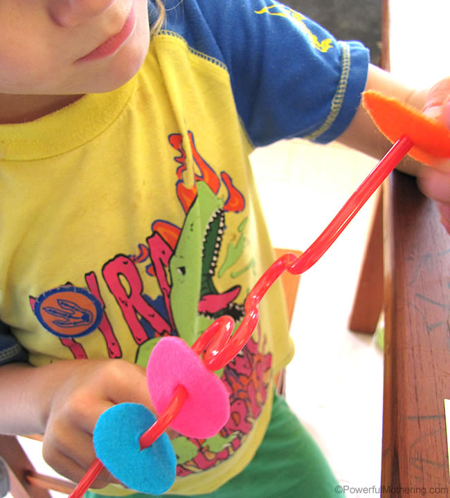 crazy straw fine motor skills with felt