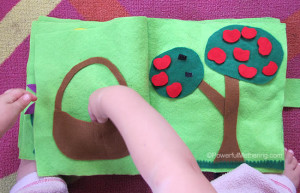 How to make a quiet book includes 11 inside pages all no sew apple picking no sew quiet book page from powerfulmothering pronofoot35fo Gallery