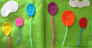Balloons No Sew Quiet Book Page from PowerfulMothering.com