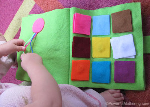 Color Square Matching and Braid the Ribbon No Sew Quiet Book Page from Powerfulmothering.com