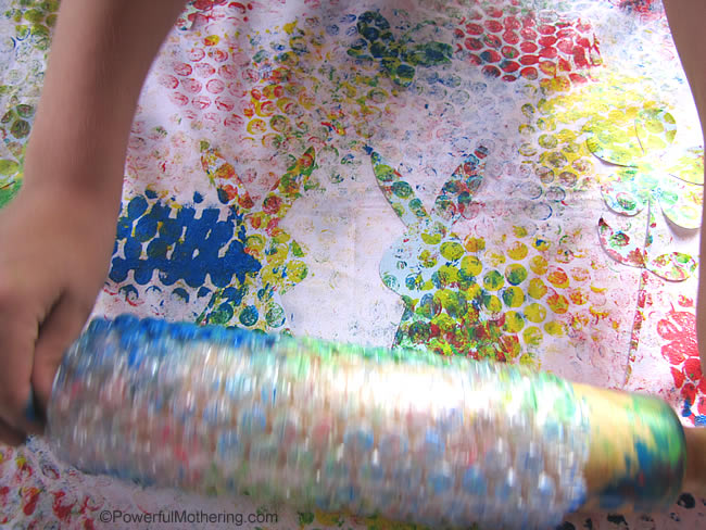 bubble wrap painting on silhouette shapes
