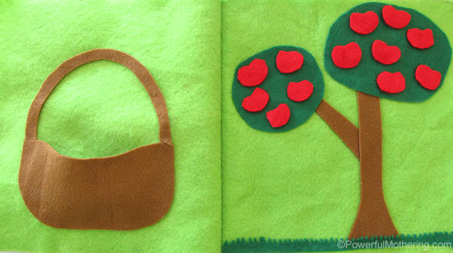 felt Apple Picking No Sew Quiet Book Page