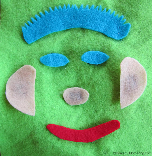 felt Face Features No Sew Quiet Book Page