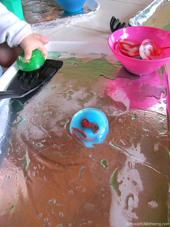 fine motor activities with ice play at PowerfulMothering.com
