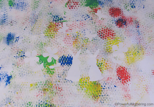 Bubble Wrap Painting on Canvas Art with PowerfulMothering.com