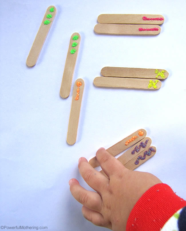Sensory Stick Color Match with PowerfulMothering.com