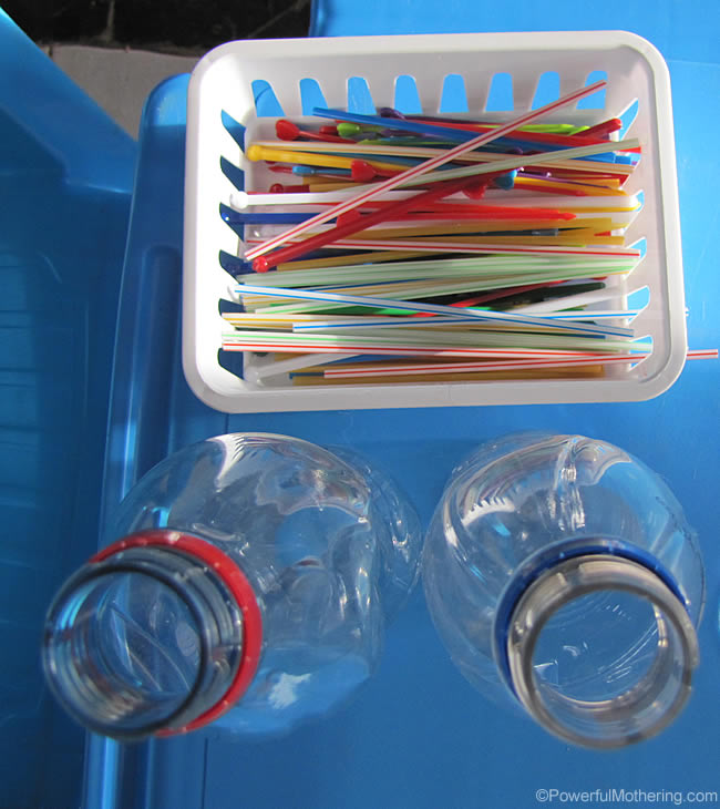 straws and bottle busy bag
