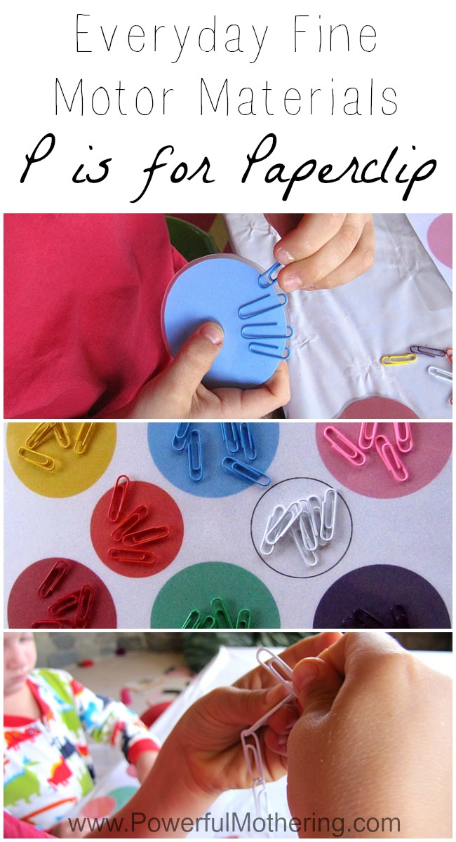 Everyday Fine Motor Materials P is for Paperclip busy bag from PowerfulMothering.com