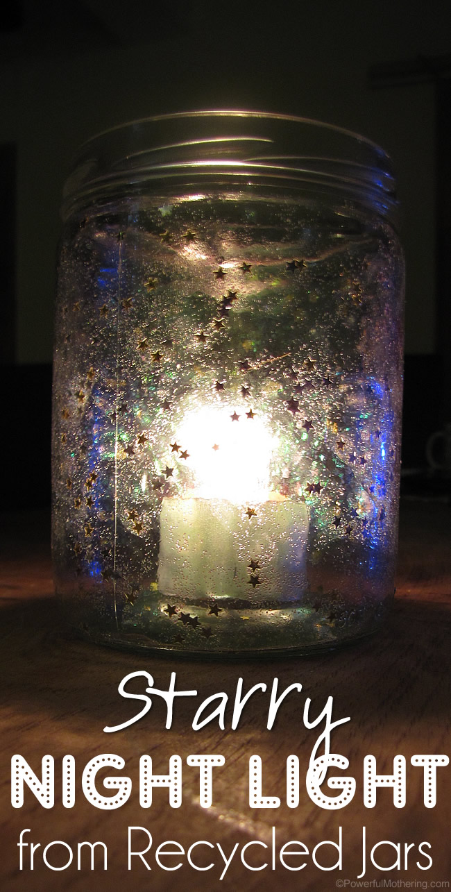 Starry Night Light from Recycled Jars from PowerfulMothering.com