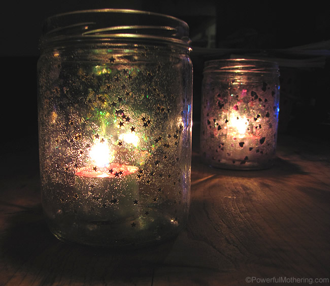 Starry and Heart Night Light from Recycled Jars
