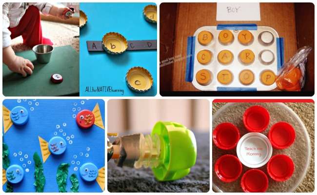 30 ways to play learn with lids and bottle caps for Wholesale bottle caps for crafts