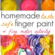 homemade finger paint and fine motor activity from PowerfulMothering.com