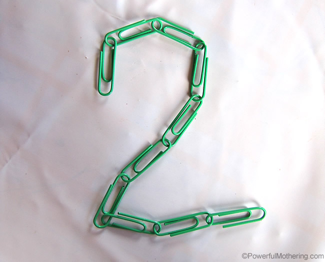 learning and forming letters with paperclips