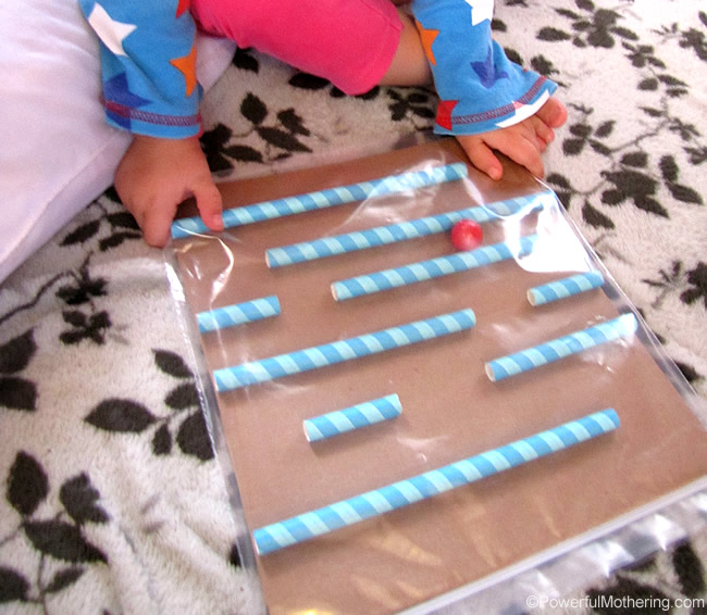 toddler loves the baggie maze