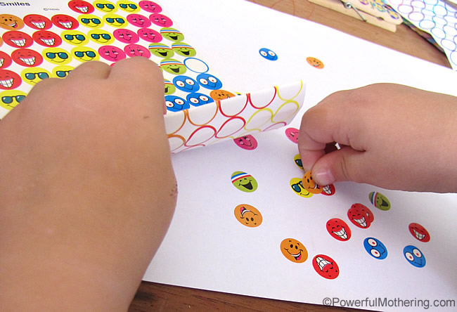 Using Stickers Fine Motor activity
