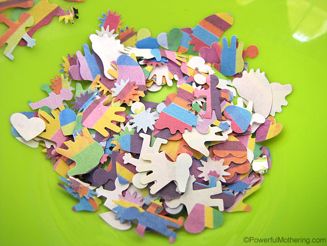 colorful bits of paper