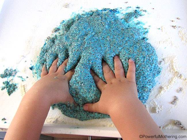 hand in deep into the slime