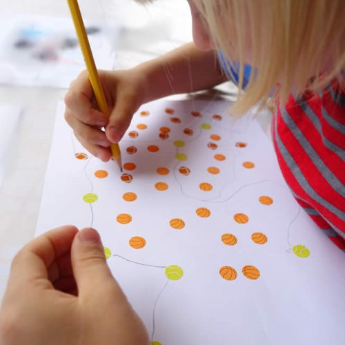 Connect the stickers a writing skill