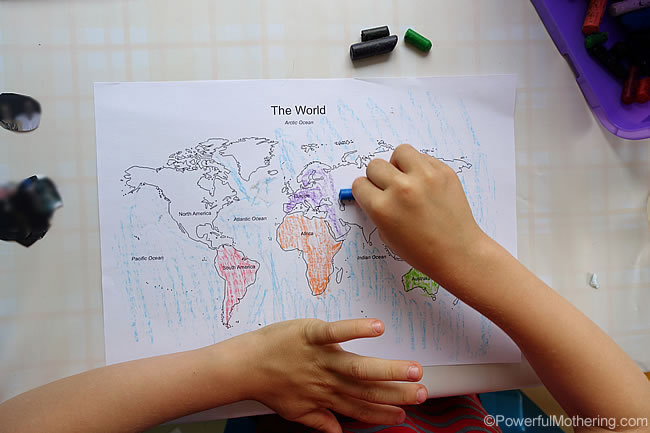 coloring in the map