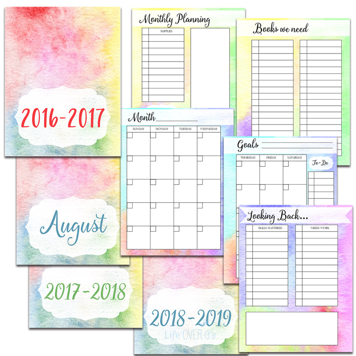 homeschool planner with monthy sections