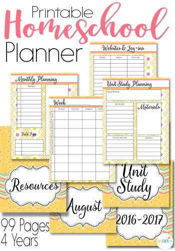 homeschool planner with unit study