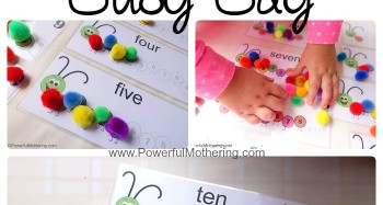 Counting Caterpillar Busy Bag with free printable from PowerfulMothering.com