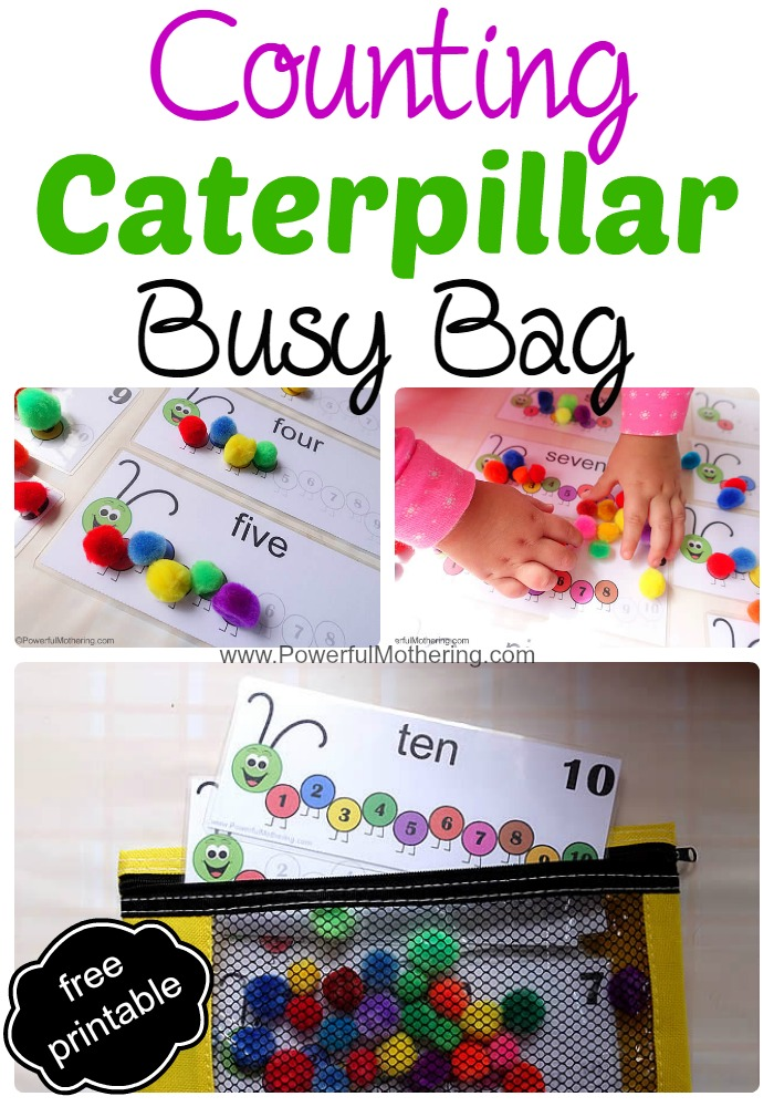 Counting Caterpillar printable numbers 1-10 Busy Bag with free printable from PowerfulMothering.com