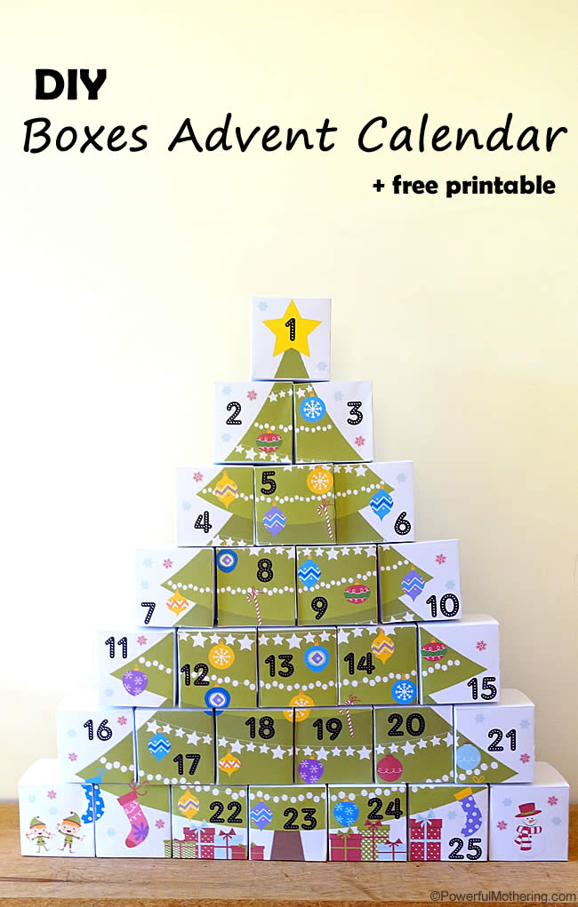 DIY Boxes Advent Calendar with Free Printable from PowerfulMothering ...