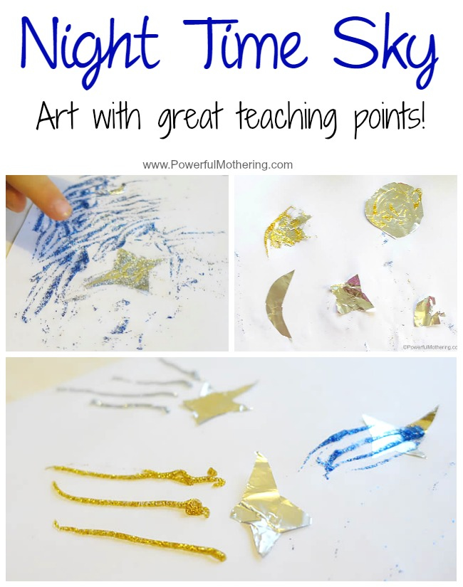 Night Time Sky with Playful Preschool with PowerfulMothering.com