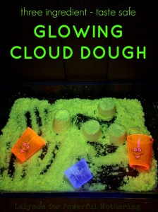 Try this glowing cloud dough recipe under your black light! BONUS it is taste safe AND reusable in 2 OTHER play ideas! SCORE!