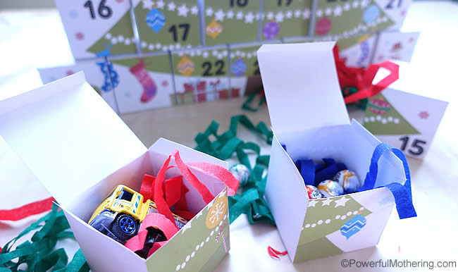 chocolates in advent boxes