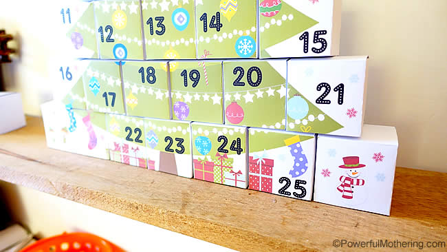 Diy Advent Calendar Drawers : Diy boxes advent calendar with free printable