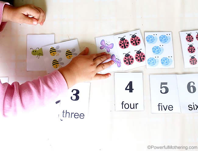 mix and match the cards with free printable number cards 1-10