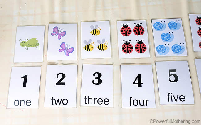 one to five counting with free printable number cards