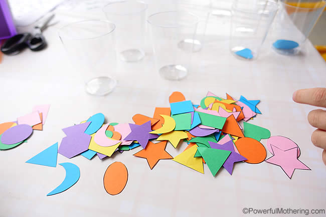 quick shape sorting with cups