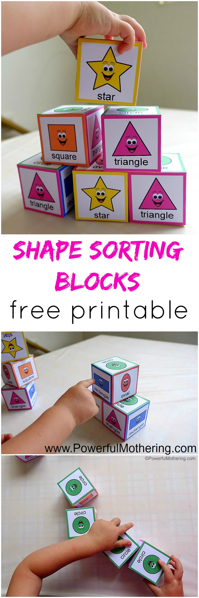 shape sorting blocks with free printable from PowerfulMothering.com