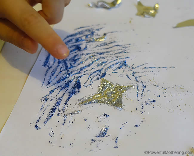 using glitter for the night sky